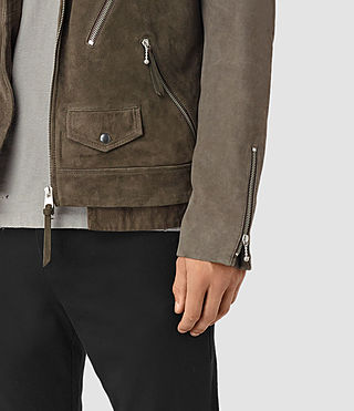 Mens Sesley Suede Biker Jacket (LIGHT SLATE GREY) - product_image_alt_text_3