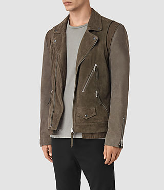 Mens Sesley Suede Biker Jacket (LIGHT SLATE GREY) - product_image_alt_text_4