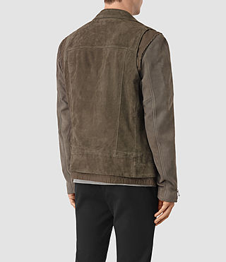 Mens Sesley Suede Biker Jacket (LIGHT SLATE GREY) - product_image_alt_text_5