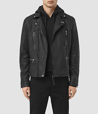 Hombres Skept Leather Biker Jacket (Black)