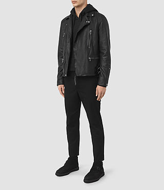 Mens Skept Leather Biker Jacket (Black) - product_image_alt_text_2