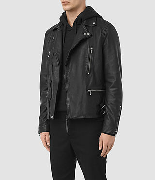Mens Skept Leather Biker Jacket (Black) - product_image_alt_text_4