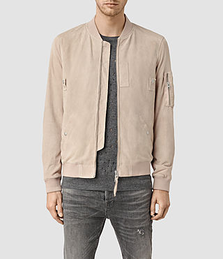 Mens Trinity Suede Bomber Jacket (Dusty Pink)