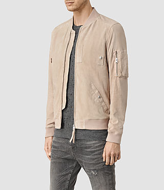 Hommes Trinity Suede Bomber Jacket (Dusty Pink) - product_image_alt_text_2