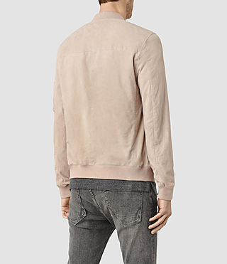 Hommes Trinity Suede Bomber Jacket (Dusty Pink) - product_image_alt_text_3