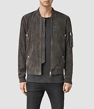 Mens Trinity Suede Bomber Jacket (ANTHRACITE GREY)