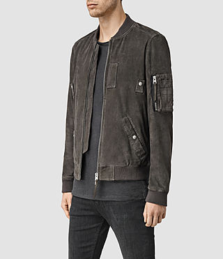 Mens Trinity Suede Bomber Jacket (ANTHRACITE GREY) - product_image_alt_text_2