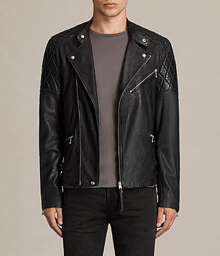 Hombres Den Leather Biker Jacket (INK NAVY)