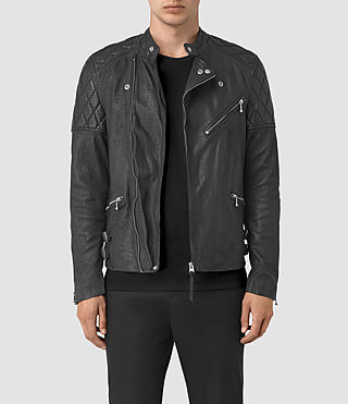 Hombre Den Leather Biker Jacket (Black)