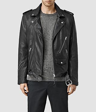 Mens Brivio Leather Biker Jacket (Black)