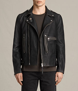 Hombre Wykham Leather Biker Jacket (Black)