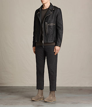 Mens Wykham Leather Biker Jacket (Black) - product_image_alt_text_3