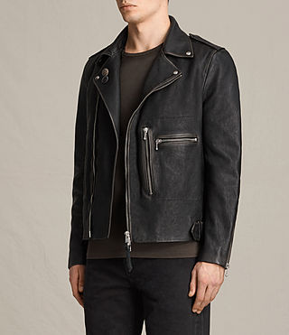 Mens Wykham Leather Biker Jacket (Black) - product_image_alt_text_5