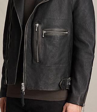 Mens Wykham Leather Biker Jacket (Black) - product_image_alt_text_7