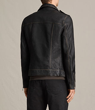 Mens Wykham Leather Biker Jacket (Black) - product_image_alt_text_8