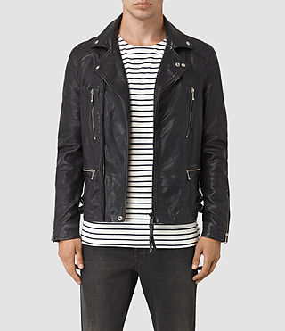 Mens Ario Leather Biker Jacket (INK NAVY)