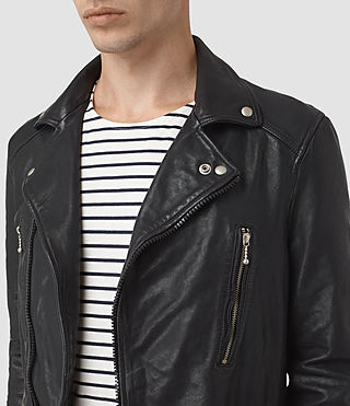 Hommes Ario Leather Biker Jacket (INK NAVY) - product_image_alt_text_2