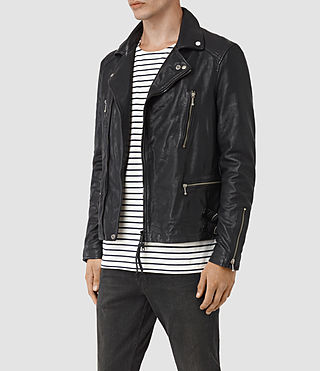 Hommes Ario Leather Biker Jacket (INK NAVY) - product_image_alt_text_3
