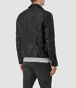 Hommes Ario Leather Biker Jacket (INK NAVY) - product_image_alt_text_4
