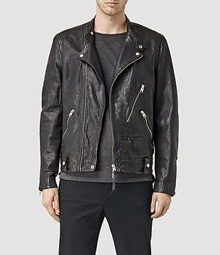 Mens Casper Leather Biker Jacket (Black)