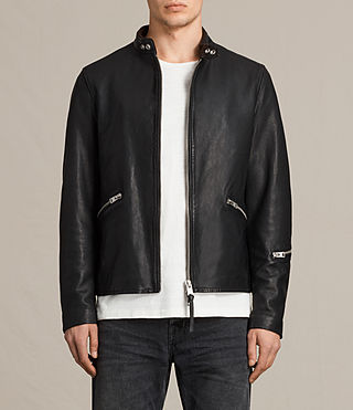 Herren Cruz Leather Jacket (Black)
