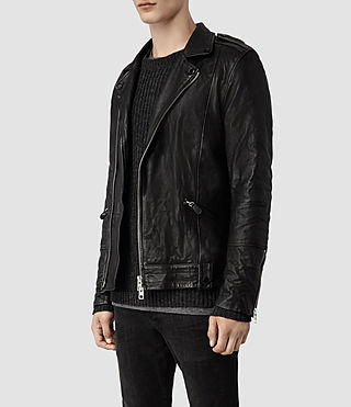 Men's Griffin Leather Biker Jacket (Black) - product_image_alt_text_2