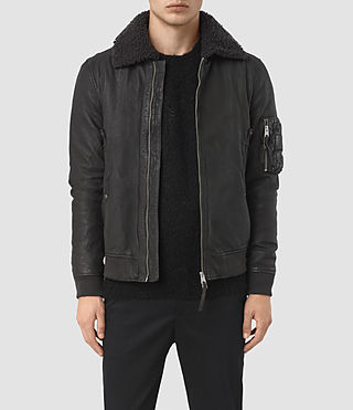 Hombres Olin Leather Aviator Jacket (ANTHRACITE GREY)