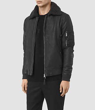 Uomo Olin Leather Aviator Jacket (ANTHRACITE GREY) - product_image_alt_text_4