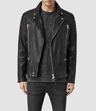 Mens Powel Leather Biker Jacket (Black)