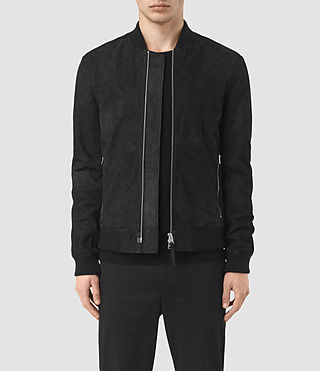 Hombres Tyde Leather Bomber Jacket (Black)
