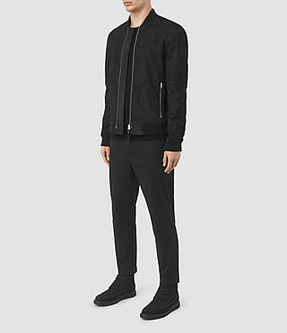 Mens Tyde Suede Bomber Jacket (Black) - product_image_alt_text_2