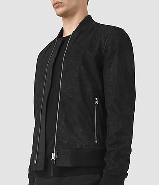 Mens Tyde Suede Bomber Jacket (Black) - product_image_alt_text_3