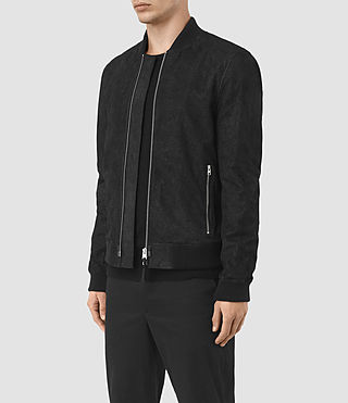 Mens Tyde Suede Bomber Jacket (Black) - product_image_alt_text_4
