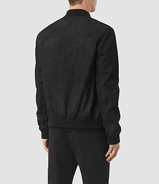 Mens Tyde Suede Bomber Jacket (Black) - product_image_alt_text_5