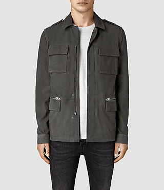 Hommes Rampart Suede Jacket (Steel Grey)