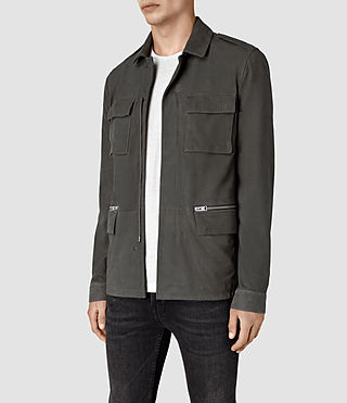 Hombre Rampart Suede Jacket (Steel Grey) - product_image_alt_text_3
