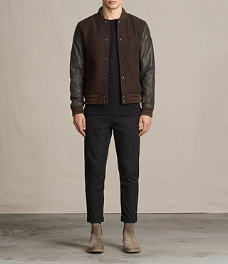Hombres Buck Bomber Jacket (OXBLOOD RED/BROWN)