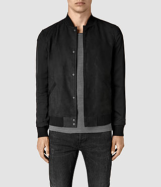 Hombre Ilia Leather Bomber Jacket (Black)