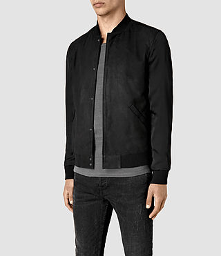 Hommes Ilia Leather Bomber Jacket (Black) - product_image_alt_text_3
