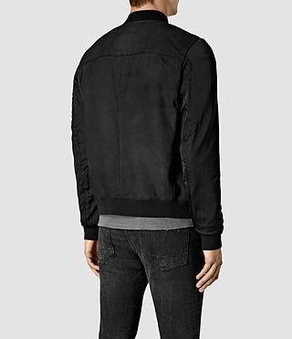 Hommes Ilia Leather Bomber Jacket (Black) - product_image_alt_text_4