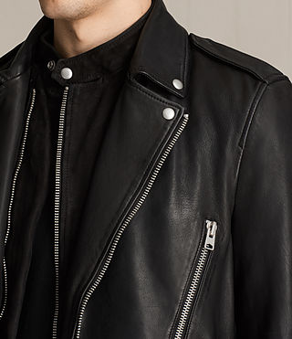 Hombres Clint Leather Biker Jacket (BLACK/WASHED)