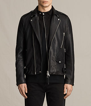 Uomo Giacca biker in pelle Clint (BLACK/WASHED) - product_image_alt_text_2