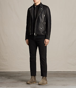 Uomo Giacca biker in pelle Clint (BLACK/WASHED) - product_image_alt_text_3