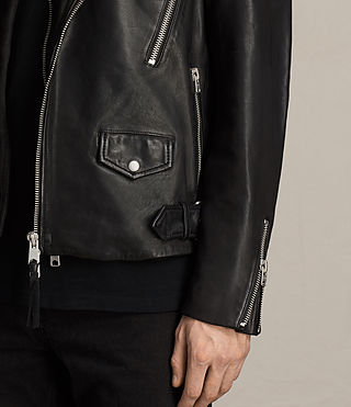Uomo Giacca biker in pelle Clint (BLACK/WASHED) - product_image_alt_text_6