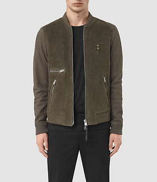 Mens Logan Suede Bomber Jacket (Slate Grey)