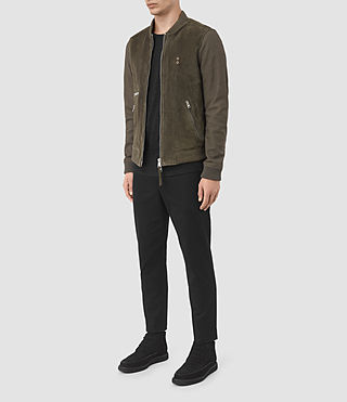Herren Logan Suede Bomber Jacket (Slate Grey) - product_image_alt_text_2