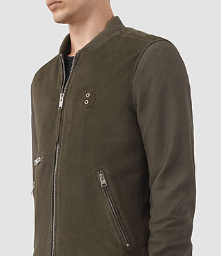 Hombre Logan Suede Bomber Jacket (Slate Grey) - product_image_alt_text_4