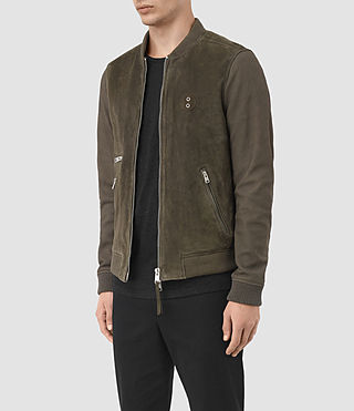 Hombre Logan Suede Bomber Jacket (Slate Grey) - product_image_alt_text_5