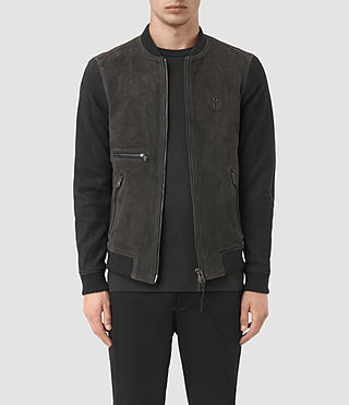 Hombres Logan Suede Bomber Jacket (STEEL BLUE/INK)