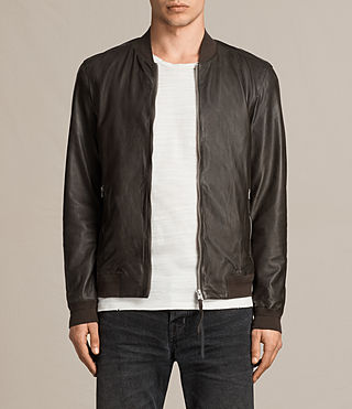 Mens Boxley Leather Bomber Jacket (GRAPHITE GREY) - product_image_alt_text_1